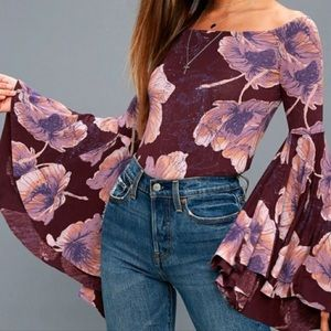 """Free People """"Birds of Paradise"""" Bell-sleeve top 💜"""